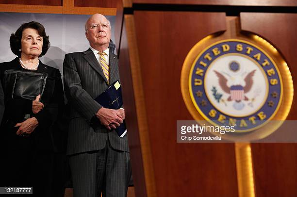 Sen Dianne Feinstein and Senate Judiciary Committee Chairman Patrick Leahy hold a news conference with at the US Capitol November 10 2011 in...