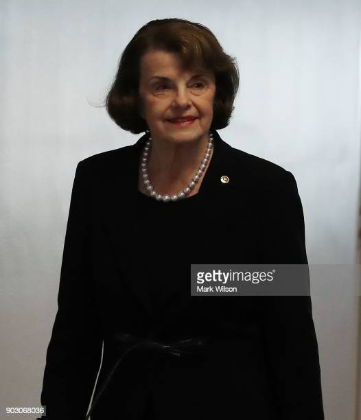 Sen Dianne Feinstein arrives at a Senate Intelligence Committee closed door meeting on January 9 2018 in Washington DC The committee is investigating...