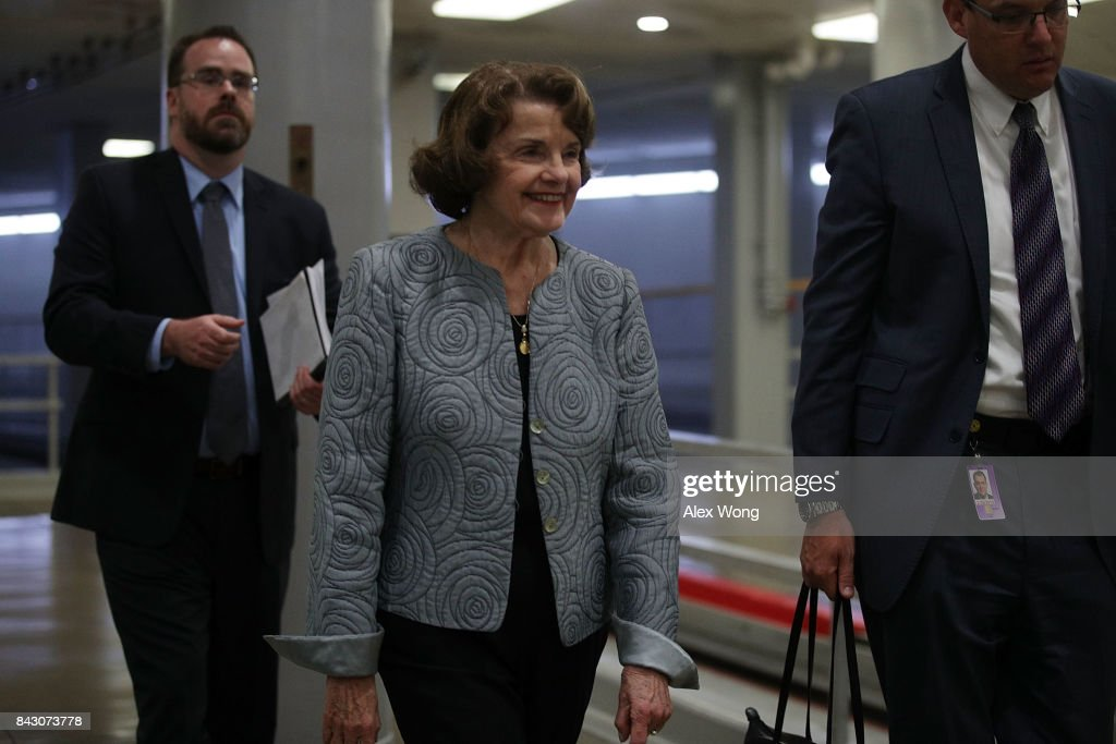 U.S. Sen. Dianne Feinstein (D-CA) (2nd L) arrives for a vote at the Capitol September 5, 2017 in Washington, DC. Congress is back from summer recess with a heavy legislative agenda in front of them.