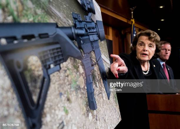 Sen Dianne Feinstein DCalif and Sen Richard Blumenthal DConn hold a news conference in the Capitol on Wednesday Oct 4 to introduce legislation to ban...