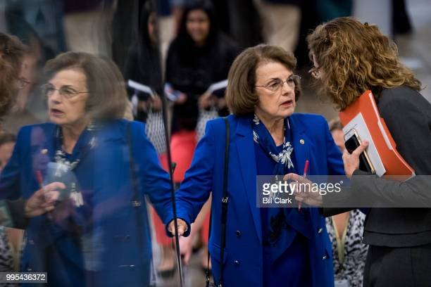 Sen Dianne Feinstein DCalif arrives for the Senate Democrats' policy lunch in the Capitol on Tuesday July 10 the day after President Donald Trump...