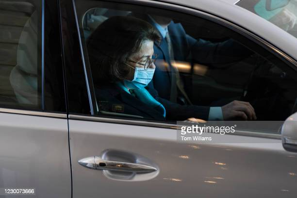 Sen. Dianne Feinstein, D-Calif., leaves the Capitol after voting on the National Defense Authorization Act for Fiscal Year 2021 on Friday, December...