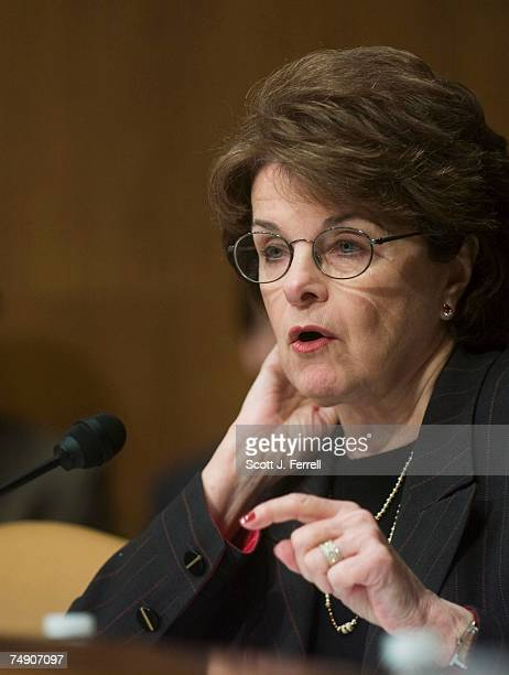 Sen Dianne Feinstein DCalif questions witnesses during the Senate Judiciary hearing on executive wartime power and the Foreign Intelligence...