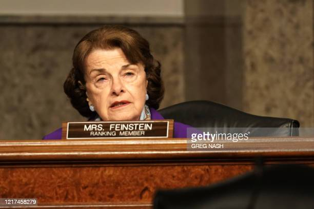 Sen Dianne Feinstein gives an opening statement during a Senate Judiciary Committee hearing to discuss Crossfire Hurricane the FBI's probe into...
