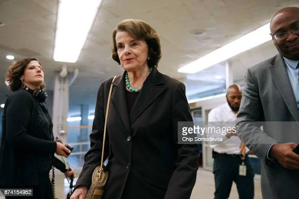 Sen Dianne Feinstein heads for the Democratic policy luncheon at the US Capitol November 14 2017 in Washington DC Senate Republicans are distancing...