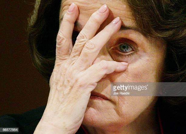 Sen Dianne Feinstein listens to testimony during the confirmation hearing of US Supreme Court nominee Judge Samuel Alito on the third day of hearings...
