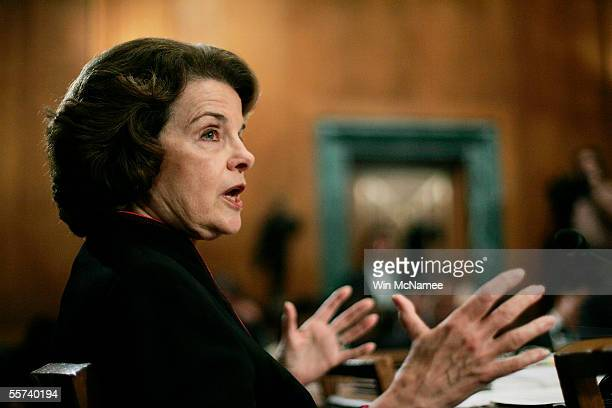 S Sen Dianne Feinstein makes her opening remarks during a meeting of the Senate Judiciary Committee on the John Roberts' nomination for the Chief...