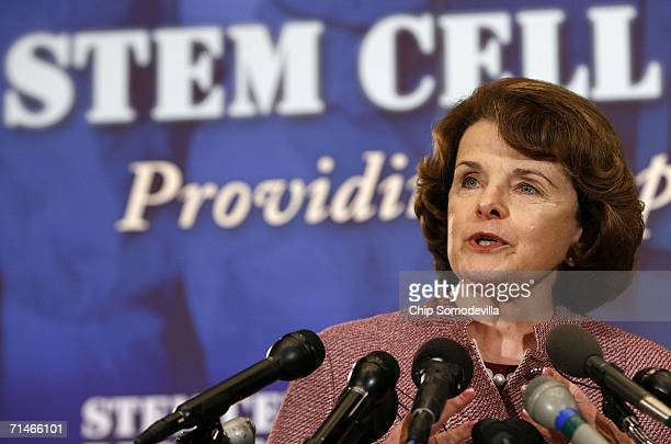 Sen. Dianne Feinstein participates in a news conference in the run up to a series of Senate votes on stem cell research on Capitol Hill July 17, 2006...