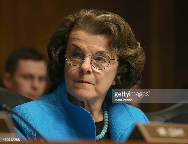 Sen Dianne Feinstein participates in a Senate Judiciary Committee hearing on Capitol Hill July 8 2015 in Washington DC The committee was hearing...