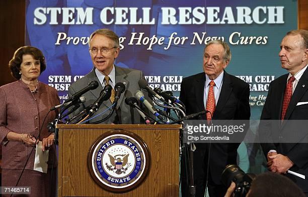 Sen. Dianne Feinstein , Senate Minority Leader Harry Reid , Sen. Tom Harkin and Senate Judiciary Committee Chairman Arlen Spector participate in a...