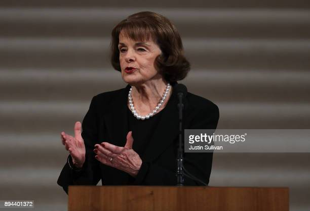 S Sen Dianne Feinstein speaks during a Celebration of Life Service held for the late San Francisco Mayor Ed Lee on December 17 2017 in San Francisco...