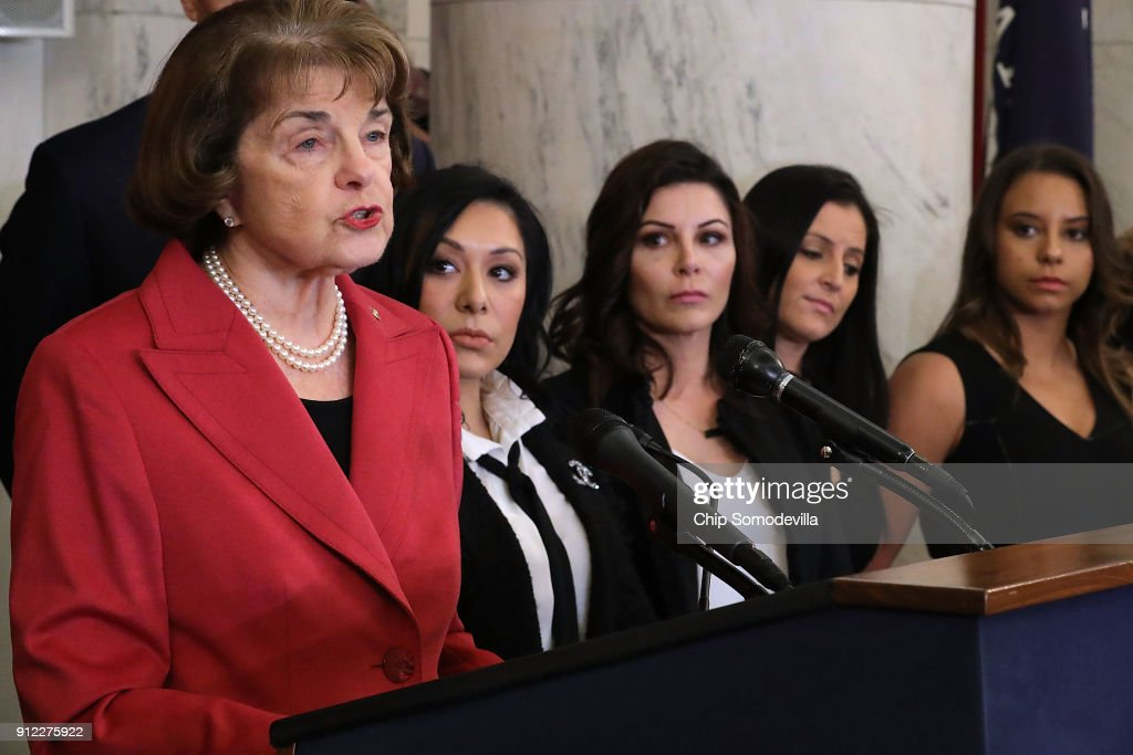Sen. Feinstein Holds News Conf. With Sexual Abuse Survivors Of Dr. Larry Nassar