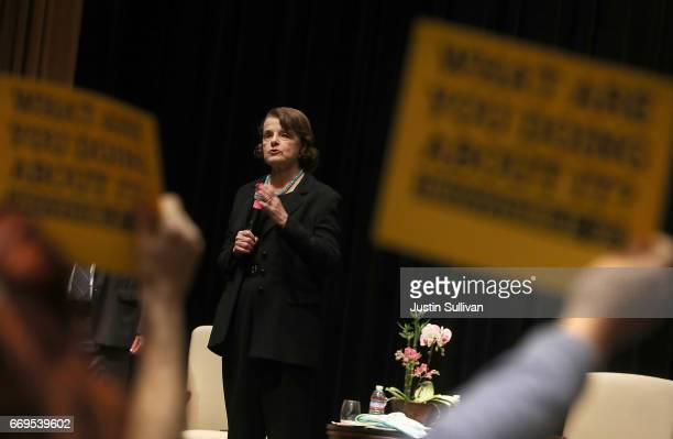 S Sen Dianne Feinstein speaks during a twon hall style meeting at the San Francisco Scottish Rite Masonic Center on April 17 2017 in San Francisco...