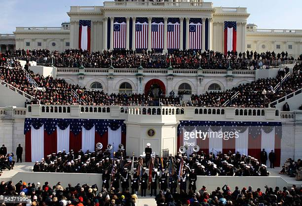 Sen. Dianne Feinstein speaks during Barack Obama's inauguration as the 44th President of the United States of America on the West Front of the...