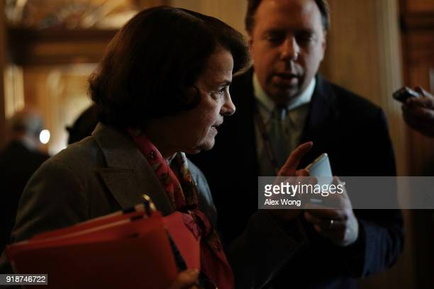 S Sen Dianne Feinstein speaks to members of the media prior to a number of votes at the Capitol February 15 2018 in Washington DC A bipartisan...