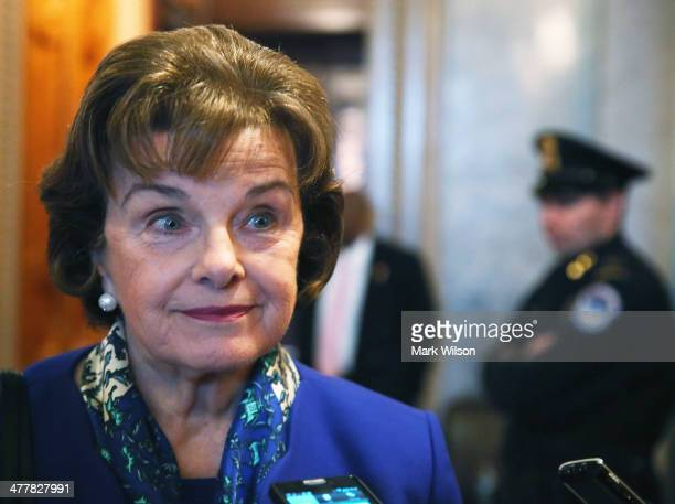 S Sen Dianne Feinstein speaks to reporters after finishing a speech on the Senate floor on March 11 2014 in Washington DC Feinstein who is Chairman...