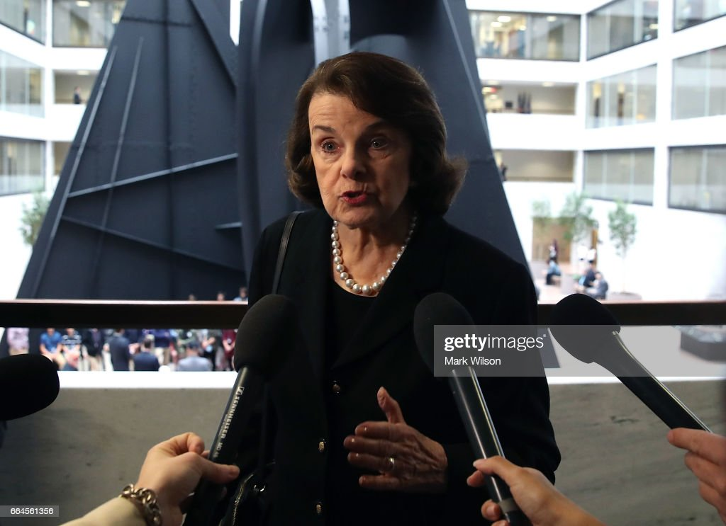 Sen. Dianne Feinstein (D-CA) speaks to the media before entering a Senate Select Committee on Intelligence closed door meeting at the U.S. Capitol, on April 4, 2017 in Washington, DC. The committee has launch an investigation into possible Russian interference in the U.S. presidential election.