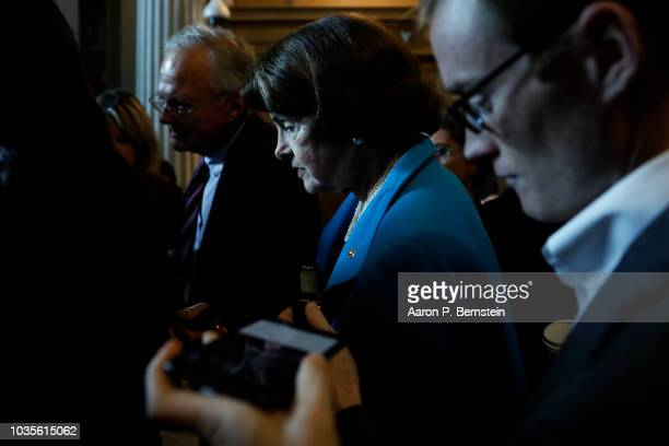 S Sen Dianne Feinstein speaks with reporters ahead of the weekly policy luncheons on Capitol Hill September 18 2018 in Washington DC Senate Majority...