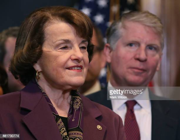 Sen Dianne Feinstein stands with Manhattan District Attorney Cyrus R Vance during a news conference where she expressed her opposition to a bill the...