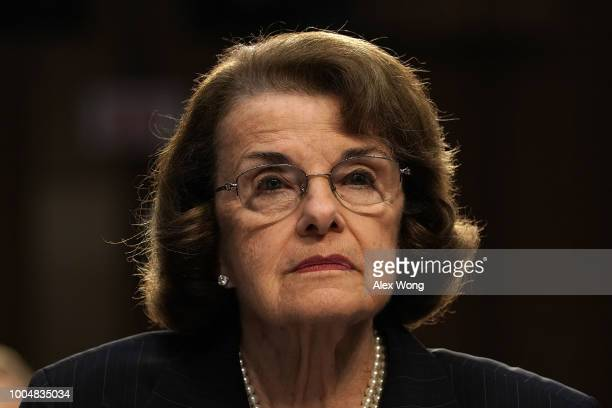 S Sen Dianne Feinstein testifies during a hearing before the Consumer Protection Product Safety Insurance and Data Security Subcommittee of Senate...