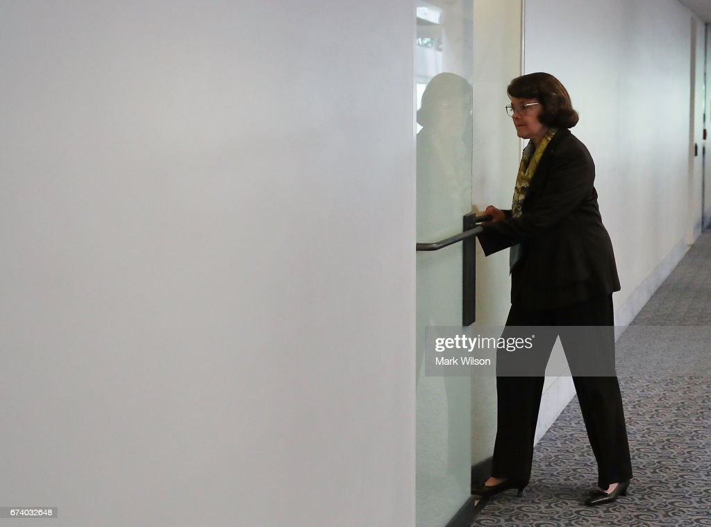 Sen. Dianne Feinstein (D-CA) walks into a Senate Select Committee on Intelligence closed door meeting at the U.S. Capitol, on April 27, 2017 in Washington, DC. The committee is investigation possible Russian interference in the U.S. presidential election.