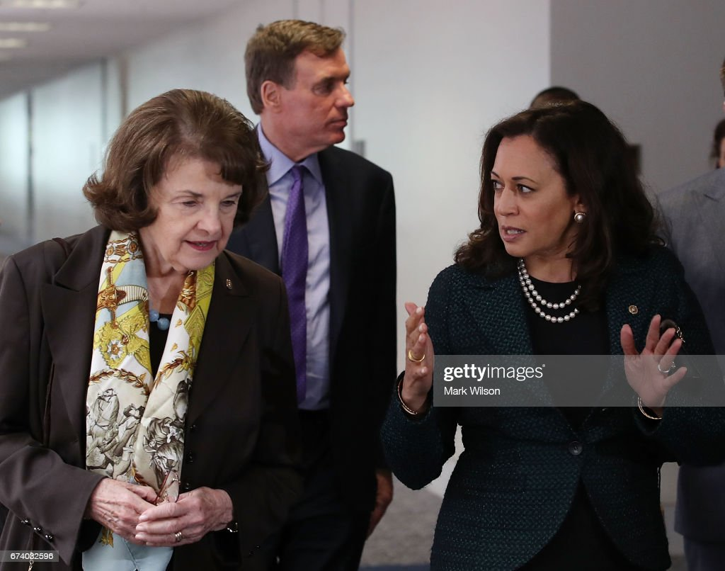 Sen. Dianne Feinstein (D-CA)(L) walks with Sen. Kamala Harris (D-CA) and Sen. Mark Warner (D-VA) (C), to a Senate Select Committee on Intelligence closed door meeting at the U.S. Capitol, on April 27, 2017 in Washington, DC. The committee is investigation possible Russian interference in the U.S. presidential election.