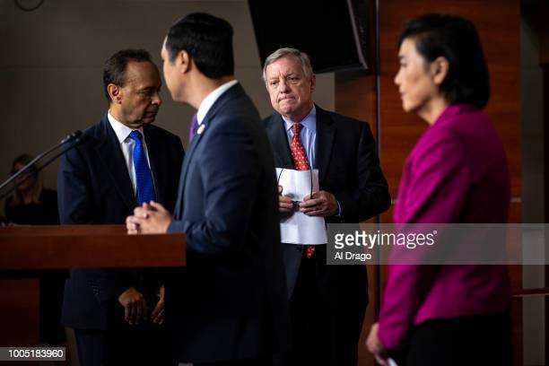 Sen Dick Durbin arrives for a news conference with Rep Joaquin Castro Rep Judy Chu and other Democratic lawmakers on Capitol Hill on July 25 2018 in...