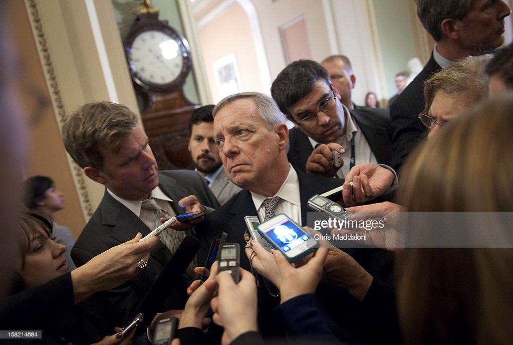 Sen. Dick Durbin, D-Ill., speaks to the press about the fiscal cliff after the weekly Senate luncheons. Congress and the President have until the end of the year to solve the ongoing budget crisis.