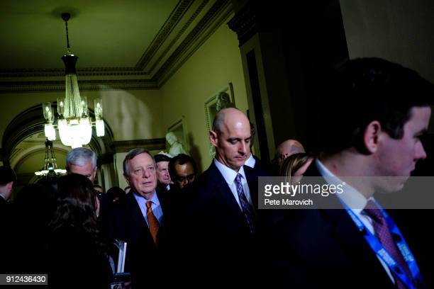 S Sen Dick Durbin leaves the House of Representatives Chamber after President Donald Trump's first State of the Union Address before a joint session...