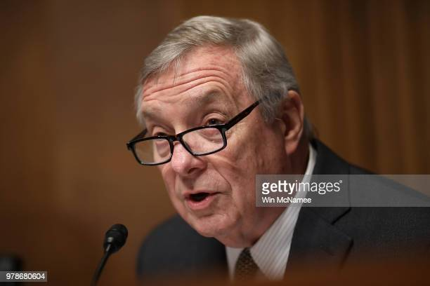 Sen Dick Durbin questions US Citizenship and Immigration Services Director L Francis Cissna during a Senate Judiciary Committee hearing June 19 2018...