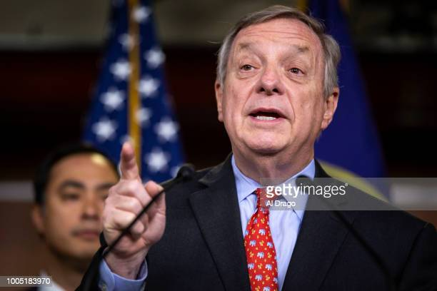 Sen Dick Durbin speaks beside Rep Joaquin Castro during a news conference with Democratic lawmakers on Capitol Hill on July 25 2018 in Washington DC...