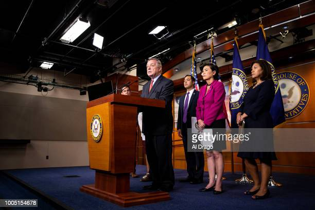 Sen Dick Durbin speaks during a news conference with Democratic lawmakers on Capitol Hill on July 25 2018 in Washington DC The lawmakers addressed...