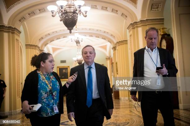 Sen Dick Durbin walks to the office of Senate Minority Leader Chuck Schumer on Capitol Hill January 21 2018 in Washington DC Lawmakers are convening...