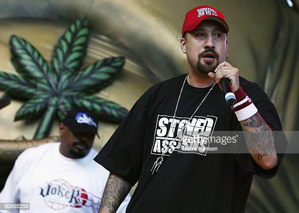 Sen Dog and BReal of Cypress Hill perform at the Kroq Weenie Roast 2004 concert held at the Verizon Wireless Amphitheater on June 12 2004 in Irvine...