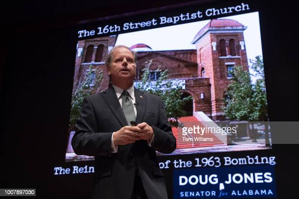 Sen Doug Jones DAla talks to interns in the Congressional Auditorium on July 30 on his role in prosecuting participants in Birmingham's 16th Street...