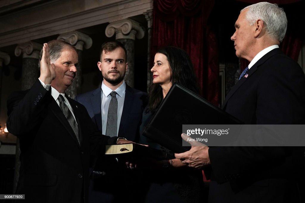 Newly Elected Senators Doug Jones And Tina Smith Sworn Into Senate : News Photo