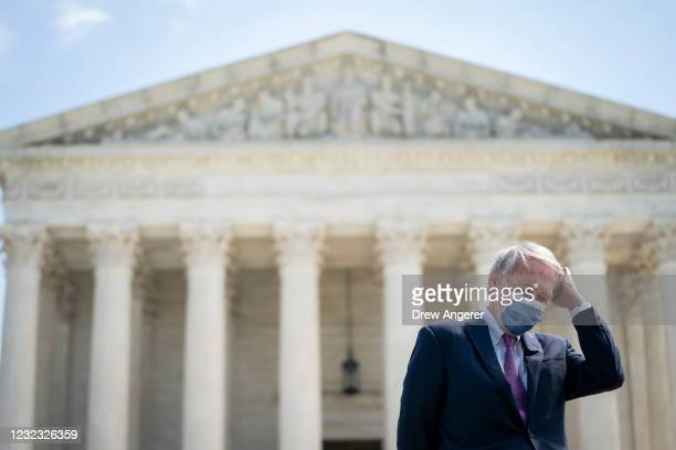 Sen. Ed Markey attends a press conference in front of the U.S. Supreme Court to announce legislation to expand the number of seats on the Supreme...