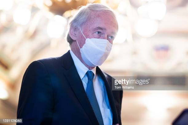 Sen. Ed Markey, D-Mass., talks with reporters in the Capitol during a break in the impeachment trial of former President Donald Trump in Washington,...