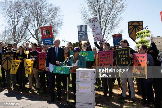 US Sen Ed Markey joined by activist made a rally outside Congress arguing the Republicans have no plan to combat climate change and theyre blocking...