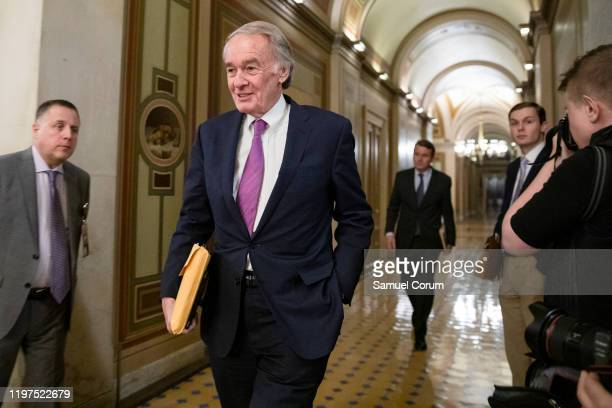 Sen Ed Markey leaves the US Capitol after the Senate impeachment trial of President Donald Trump was adjourned for the day on January 29 2020 in...