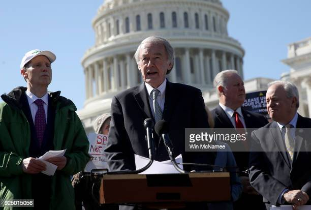 Sen Ed Markey speaks at a news conference on net neutrality at the US Capitol February 27 2018 in Washington DC Today has been designated a net...