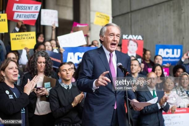 Sen Ed Markey speaks at a rally calling on Sen Jeff Flake to reject Judge Brett Kavanaugh's nomination to the Supreme Court on October 1 2018 in...