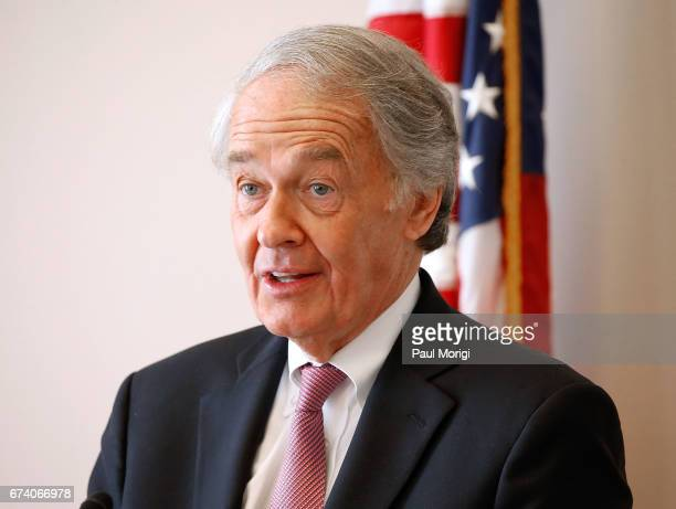 Sen Ed Markey speaks at the Media Solutions Summit at Russell Senate Office Building on April 27 2017 in Washington DC The summit was held to promote...