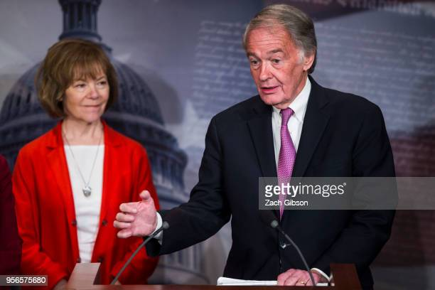 Sen Ed Markey speaks during a news conference on a petition to force a vote on net neutrality on Capitol Hill in Washington DC Also pictured is Sen...