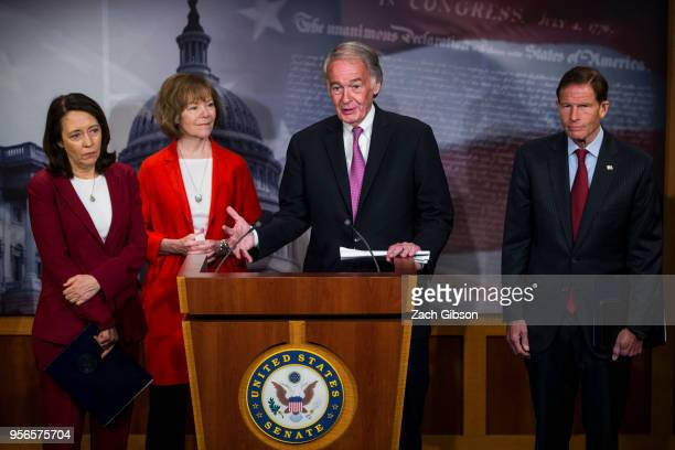 Sen Ed Markey speaks during a news conference on a petition to force a vote on net neutrality on Capitol Hill in Washington DC Also pictured are Sen...