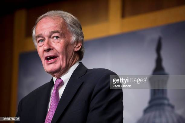 Sen Ed Markey speaks during a news conference on a petition to force a vote on net neutrality on Capitol Hill in Washington DC