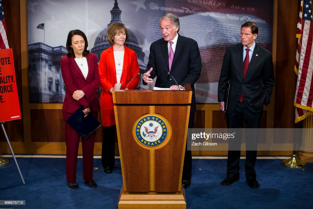 Sen. Ed Markey (D-MA) speaks during a news conference on a petition to force a vote on net neutrality on Capitol Hill in Washington, DC. Also pictured are Sen. Maria Cantwell (D-WA), Sen. Tina Smith (D-MN), and Sen. Richard Blumenthal (D-CT).