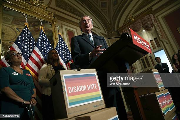 Sen Ed Markey speaks during a press conference held by Democratic senators calling for action on gun violence June 16 2016 at the US Capitol in...