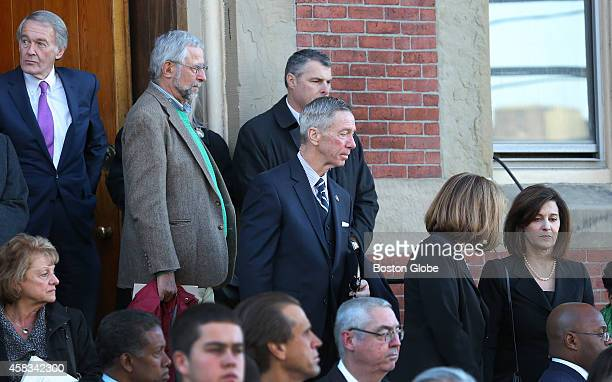 S Sen Ed Markey US Congressman Stephen Lynch and Victoria Kennedy on the steps of the church after Mass for late Boston mayor Thomas Menino's funeral