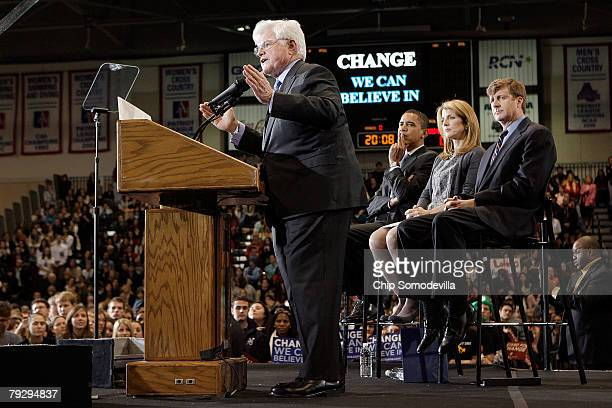 Sen Edward Kennedy addresses a rally in support of Sen Barack Obama along with his son and niece Caroline Kennedy in the Bender Arena at American...